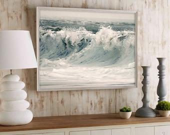Large coastal art Surf poster Ocean photography Coastal landscape Large wave print Sea art Large poster White wall art 11x14 16x20, 20x30