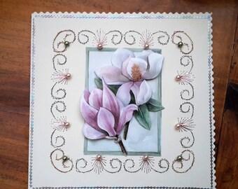 light purple flowers - hand made 3D card