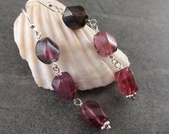 Shaded pink tourmaline earrings, handmade sterling silver triple gemstone earrings, OOAK October birthstone