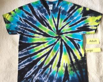 Adult Large Multi-Color Spiral Short Sleeve Tie Dye T-Shirt