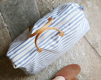 Esprit Striped Canvas and Leather Weekender Duffel Bag
