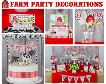 Farmer Party Decorations - Instant Download Farm Party Decorations - Barnyard Party Decorations by Printable Studio