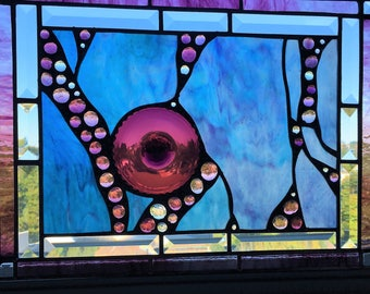 Stained Glass Art Panel Purple, Turquoise and Cobalt Stained Glass Amethyst Rondel Glass Art Abstract OOAK Handcrafted Made in USA