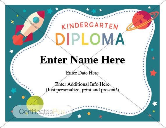 kindergarten graduation diploma  Kindergarten diploma teacher certificate kindergarten