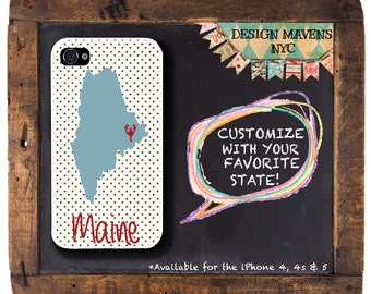 Maine iPhone Case, Personalized State Love iPhone Case, iPhone 7, 7 Plus, iPhone 6, 6s, 6 Plus, SE, iPhone 5, 5s, 5c, 4, 4s, Phone Case