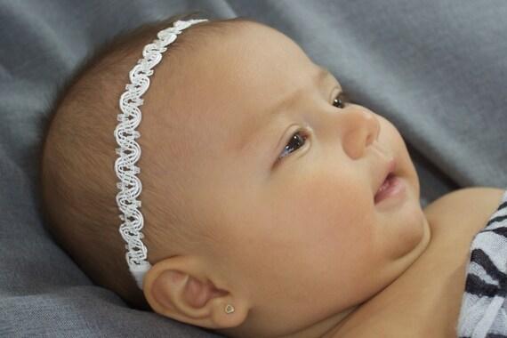 Infant Headbands, White Baby Headband, Baby Headband, Headbands For Babies, White Headband Baby, Halo Headband, Baptism Headband Christening
