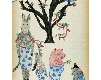 3 Art Cards of Christmas Animals