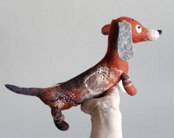 Felt Dachshund - Branko, Felt dog Art Puppet Stuffed Animals Felted toy Dog plush toy Soft toy red dachshund Marionette sausage dog. brown