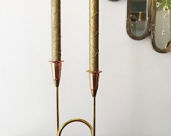 Vintage Copper And Brass Double Candle Holder