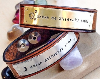 Leather Bracelet, Personalized leather cuff bracelet, Custom metal stamped cuff, Leather cuff, Custom Leather Bracelet, Personalized Leather