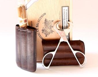 1cigar travel case leather for 3 cigars /  etui / smoking accessory / utensil / mens gift / indulgence smoking / brown