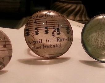 Music Notes Paris or Green Plant - Vintage Retro Artsy Adjustable Cabochon Ring
