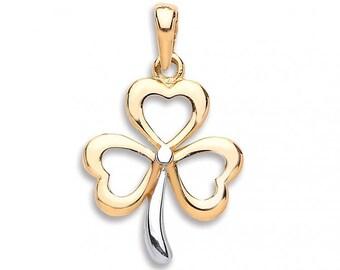 9ct Gold 3 Leaf Clover Irish Shamrock Lucky Charm Pendant 1.2g