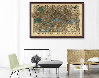 London Map 1860, Antique London Map, Vintage Map Of London, Vintage Map Poster, Vintage Wall Decor, Home Decor- CP055