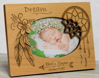 Personalized Baby Picture Frame, Baby Girl Picture Frame, New Baby Girl Frame, Bohemian Baby Frame, Bohemian Baby Girl Frame