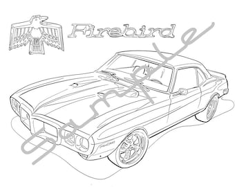1969 PONTIAC FIREBIRD, Adult Coloring Page, Printable Coloring Page, Coloring Page for Adults, Digital Instant Download 1 page