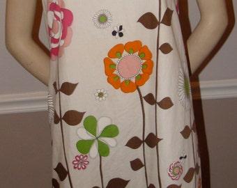 Fun Floral 60's handmade shift dress / Size Medium