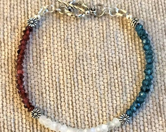 "Handmade RWB 7"" Garnet, Moonstone and Blue Topaz Toggle Bracelet"