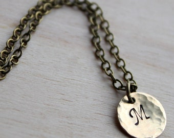 Sale. Handstamped Initial Necklace. Brass