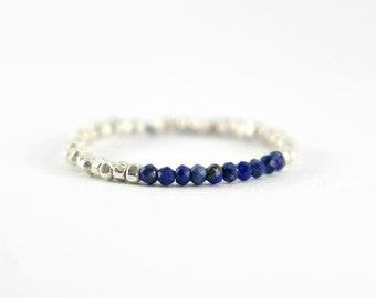 Beaded Lapis Lazuli Ring, Silver Lapis Ring, Sterling Silver Lapis Lazuli Ring, Silver Stacking Ring, Genuine Natural Blue Lapis Band Ring