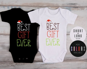 Christmas Newborn Outfit, BEST GIFT EVER Baby Outfit, Christmas Bodysuit, Christmas Baby Photo Prop, Gender Neutral Christmas Baby Clothes