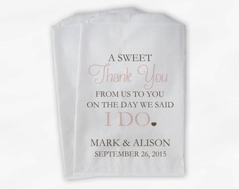 Wedding Candy Buffet Treat Bags - A Sweet Thank You Blush Pink & Brown Personalized Favor Bags with Bride and Groom's Names and Date (0085)
