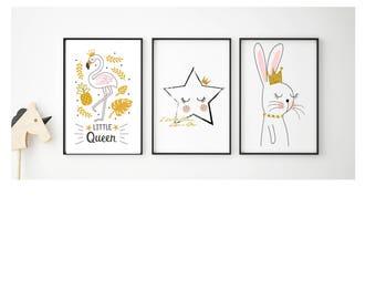 Scandinavian girls LITTLE QUEEN FLAMINGO nursery bedroom prints bedroom decor graphics