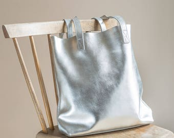 Leather Tote - Silver Leather Tote, Leather Tote, Leather Tote Bag, Leather Bag, Women's Tote Bag, Tote Bag, Gifts For Her, Personalised