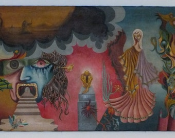 """Surreal Oil Painting on stretchered canvas """"The Chaos and the Calm"""""""