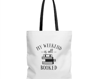 Book Tote Bag - Book Tote - Reader Gift - Weekend is Booked - Canvas Bag - Canvas Tote - Book Lover Gift - Book Bag - Librarian Gift - Book