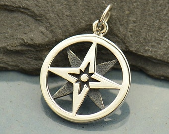 Sterling Silver True North Star Compass Charm - Pendant - Direction - Find your Way - Back to School - DIY Jewelry Travel Charm