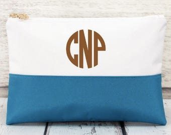 Blue and White Color Block Cosmetic Bag, Monogrammed Makeup Bag, Monogrammed Clutch, Monogrammed gift, Personalized Bag, Bridesmaid Gift