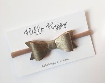 Faux leather bow nylon headband / nylon baby headband, gold hair bow, baby headband, bow headband, gold headband, gold leather bow