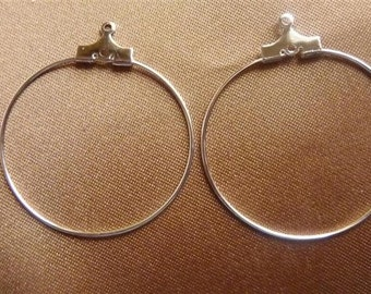Beading Hoop, Silver-Plated brass, 30mm, with Loop, Pack of 12 beading hoops.