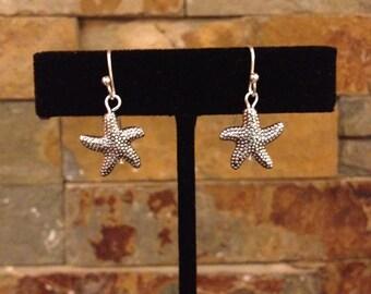 Small Silver Starfish Earrings Tropical Beach Ocean Nautical