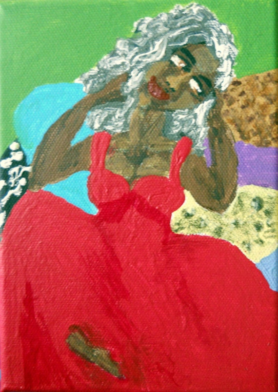 "STELLA - Acrylic painting on 5x7"" canvas, woman in red gown on pillows, Naive Outsider Art African American Folk Art, Stacey Torres Artist"
