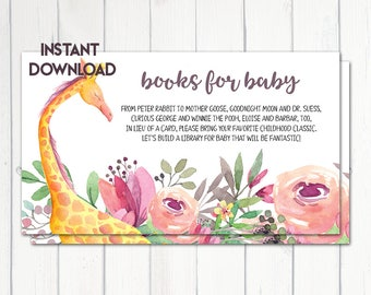 Books for Baby, Bring a Book Card, Baby Shower Activity, Baby Shower Card Insert,Giraffe Baby Shower, Safari Baby Shower, Printable No. 1055