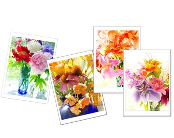 Flower Card Set, Flower Greeting Card Set,  Four Blank Cards, Mother's Day Gift,  Nasturium, Lily, Peony, Iris,Pink, Orange