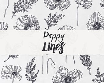 Poppy Lines - Flower Clipart, Floral Graphic, Instant Download, Digital File, Printable Clipart, Floral Vector, Flower Ornament