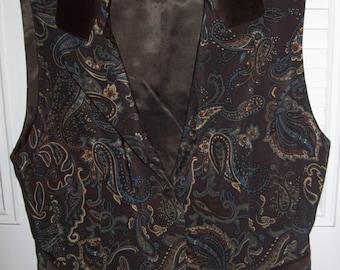 Vest 12, Vintage Brooks Brothers Paisley Silk Vest Size Medium or 10 - 12  Stunning !