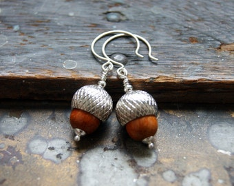 Acorn Earrings with redwood beads and silver caps