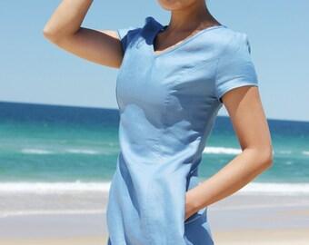 Blue Linen Dress,Linen Midi Dress,Linen shift dress,Linen Tunic,Women Linen clothing,60s Mod Dress,Pocket dress,Minimalist dress,handmade