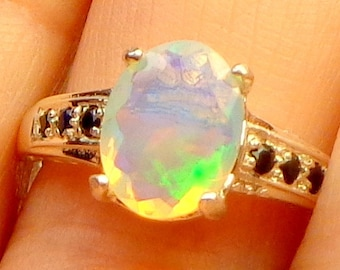 Sz 7.5, Ethiopian Welo Opal Ring, Natural Gemstone, Multi-Color Flash, Sterling Silver Ring, Blue Sapphire Accents, Fine Jewelry
