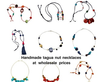 Wholesale tagua necklaces, tagua jewellery, vegetable ivory, eco friendly jewellery, statement necklaces, seeds necklace, wholesale tagua