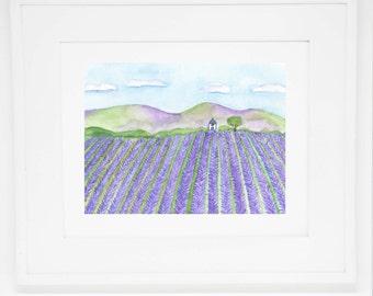 The Lavender Field art print -- 8x10