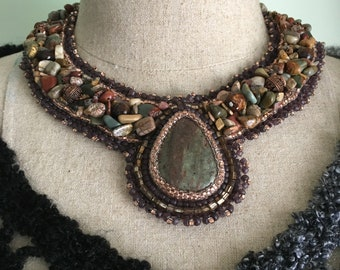 Bead Embroidered Collar -Autumn Jasper