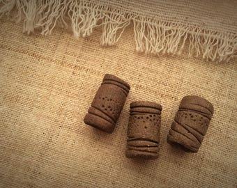 Primitive tribal design stoneware dreadlock / hair bead