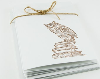 Wise Owl Blank Cards Folded Set of 5 hand stamped teacher gift with envelopes library books stocking stuffer small gift