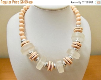 On Sale Vintage Peach and Frosted Plastic Beaded Necklace Item K # 1962