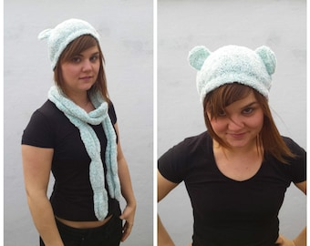 Sweet sea green hat with bear ears and matching scarf, hat with ears,bear ears, pastel set, pastel hat, pastel scarf, hat ear, knit hat ears